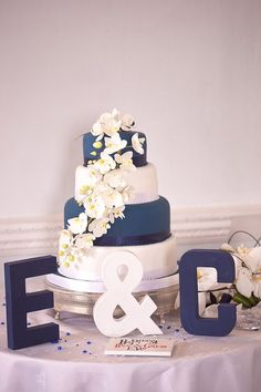 Simple white and blue cake