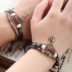 Couple Bracelets Genuine Leather Lock Key Charm from InfinityWishes by DaWanda.com