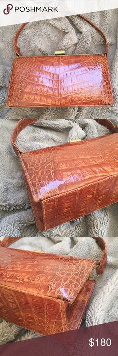 TRUE VINTAGE ALLIGATOR Bag Stunning and rare beauty! Genuine alligator animal skin in a beautiful cognac Brown. Gold tone hardware and Made in Cuba - this is fully lined. It is a very high quality purse and in impeccable condition. PLEASE MAKE AN OFFER.  High end designer resort cruise wear handbag. Bags Shoulder Bags