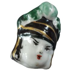 "Monique Ogier Signed Vintage French Painted Porcelain Figural Couture Button Human Head 1 1/16"""