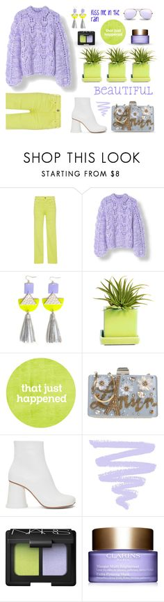 """""""Citron & Periwinkle"""" by neverboring ❤ liked on Polyvore featuring Citizens of Humanity, diverse, Dot & Bo, Lanvin, MM6 Maison Margiela, NARS Cosmetics, Clarins, Ray-Ban, coloredjeans and colorchallenge"""