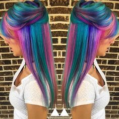 Image result for blonde teal purple ombre hair