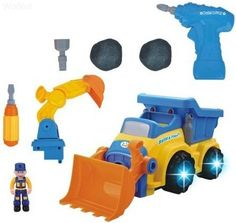 WolVol 3-in-1 Construction Bulldozer Dump Excavator Take-A-Part Truck Toy with Drill and Tools, Lights and Music (Battery Operated), Bump and Go Action, will go by its own and change directions on contact WolVol http://smile.amazon.com/dp/B00LZ9MC1U/ref=cm_sw_r_pi_dp_5pHEub1QJTP7W