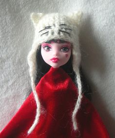 Monster High Kitty Cat Hat Ever After High Doll Ear Flap Hat crochet mohair Ever After High, Moustaches, Cat Crochet, Crochet Hats, Crochet Monster High, Nylons, Doll Patterns, Crochet Patterns, Monster High Doll Clothes