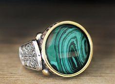 925 K Sterling Silver Man Ring Green Malachite 9 US Size B18-64086 #eJOYA #Cluster