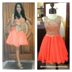 Elegante y juvenil luce Andrea Paladines con este diseño en tul bordado y chiffon en tono coral