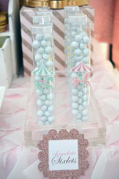 A carousel birthday party for sweet, little Alina.   We designed this carousel themed birthday party with pink and mint green as the...