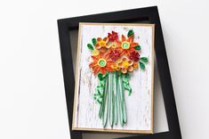 Excited to share this item from my #etsy shop: Paper Quilling Bouquet Flower Card | Red Orange Yellow Floral Card | Quilled Greeting Card | Wall Art | BCH025