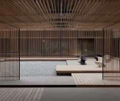 Le Meridien, Zhengzhou, China // [line + repetition of natural material creates calm/reflection mood]