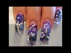Rhinestone nail art on acrylic tips Get Nails, Hair And Nails, Sinaloa Nails, Super Cute Nails, Nail Art Rhinestones, Types Of Nails, Beautiful Nail Art, Blue Nails, Trendy Nails