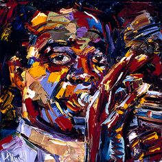 Louis Armstrong Jazz Faces Series by Debra Hurd Oil ~ 8x8 to 48x48 x Available as a print