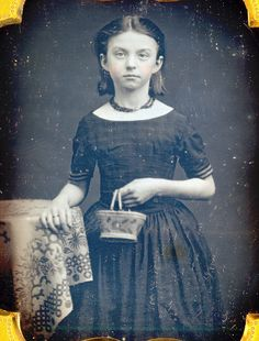Girl With Her Basket Purse Daguerreotype