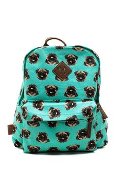 Happy Pug Printed Canvas BackpackHappy Pug Printed Canvas Backpack