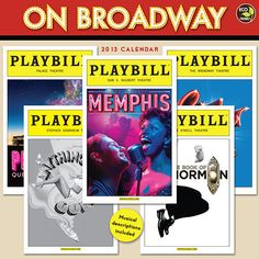 On Broadway Wall Calendar: Bring a little Broadway into your life with this 12 month wall calendar. Each month features a different Broadway musical, from Tony nominees and winners, classics and revivals to the latest and greatest.  $13.99  http://calendars.com/Standards-Opera-and-Musicals/On-Broadway-2013-Wall-Calendar/prod201300002487/?categoryId=cat00091=cat00091#