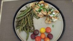 Ruth's Chris style BBQ Shrimp, Sichuan style Green Beans, Mini Heirloom Tomatoes