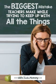 Teacher burnout is real and comes from stress and lack of self-care or work-life balance. This blog post features tips, quotes, ideas and more for dealing with the everyday stress of being a teacher. Includes a free printable quote to remind yourself that you cant do it all and its okay! #teacherburnout #teacherworklifebalance #teacherselfcare