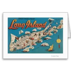 Greetings From Long Island, New York View - Vintage Halftone (Art Print Available) Photo Postcards, Vintage Postcards, Long Island Ny, Island Blue, Island Map, Island Girl, New York Vacation, Canvas Prints, Art Prints
