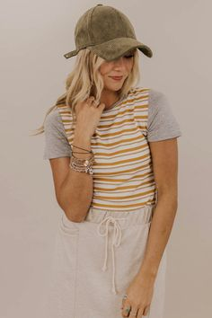 9a2a6d3222 Cute and Casual tee shirts. Mustard and cream