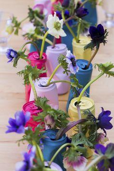Poppige Getränkedosen als Tischdekoration - DIY - blog.shopandmarry.de