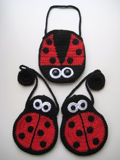 PDF PATTERN mummy and baby ladybird girls bags, crochet, strap, cute, eyes, ladybug, uk and us versions No6. €3.75, via Etsy.