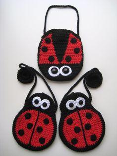 PDF PATTERN mummy and baby ladybird girls bags, crochet, strap, cute, eyes, ladybug, uk and us versions No6. €3.75, via Etsy.