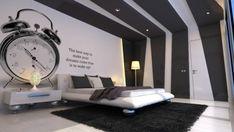 Schlafzimmer Weiß Schwarz Dekoideen-Wand