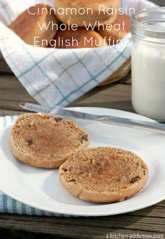 Cinnamon Raisin Honey Whole Wheat English Muffins from www.a-kitchen-addiction.com