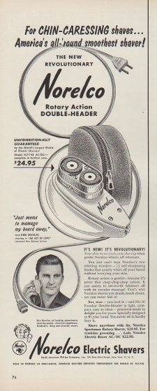 "Description: 1953 NORELCO vintage print advertisement ""For Chin-Caressing shaves"" -- For Chin-Caressing shaves ... America's all-'round smoothest shaver! The New Revolutionary Norelco Rotary Action Double-Header ... Norelco Electric Shavers -- Size: The dimensions of the half-page advertisement are approximately 5.5 inches x 14 inches (14 cm x 36 cm). Condition: This original vintage half-page advertisement is in Very Good Condition unless otherwise noted."