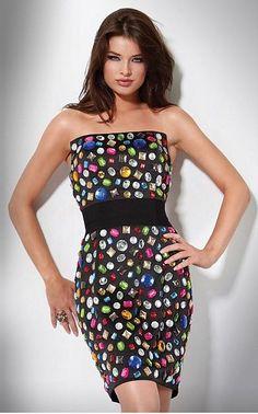 Short dress with shiny stones