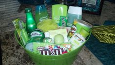 Green Themed Basket Birthday Gift Baskets Christmas Gifts For Friends