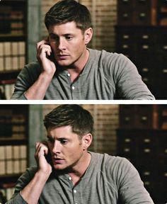 Dean on the phone in bunker. #Dean #SPN