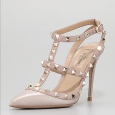 Valentino RockStud Ankle Strap Pumps Valentino Garavani Rockstud Ankle Strap in Calfskin Leather and Nappa Leather. Platinum finishing studs detail. Adjustable Straps. Heel 100mm Size 38 Valentino Shoes Heels