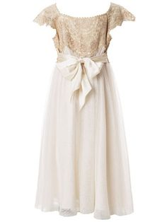 Ivory Estella Gold Sparkle Dress. Flower Girl Adding the gold sparkle through the flower girl and the cap sleeves gives it that vintage look we are going for.
