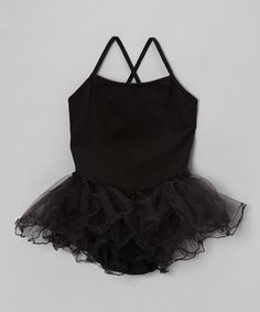 Take a look at this Black Cross-Back Leotard & Tutu by Little Threadz on #zulily today!