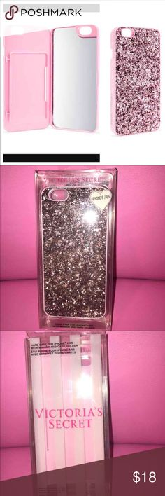 🎉SALE TODAY🎉VICTORIAS SECRET IPHONE6/6S  case -brand new 💗NO TRADES💗 -still in original box -tags attached -gorgeous pink/rose glitter  -mirror inside -ID/CC holder spot inside case -made to keep phone safe -made for iPhone 6/6S -comes from a pet free and smoke free home Victoria's Secret Accessories Phone Cases