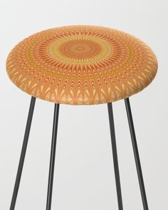 Orange Mandala Bar Stool by David Zydd Extra Tall Bar Stools, Counter Stools, Kitchen Decor, Furniture Design, Dining Table, House Design, Orange, Chair, David