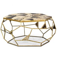 Limited Production Design: Petrified Wood Geometric Iron Art Coffee Table *  Distressed Gold Leaf *