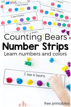 November: These counting bear number strips make learning numbers and colors hands-on and engaging! They are perfect for toddlers and preschoolers and would be a great addition to a math center! Bear Activities Preschool, Color Activities, Preschool Ideas, Brown Bear Activities, Cars Preschool, Counting Activities For Preschoolers, Teaching Numbers, Numbers Preschool, Numbers For Toddlers