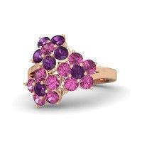 14K Rose Gold Ring with Pink Sapphire and Rhodolite Garnet | Jasmine Ring | Gemvara