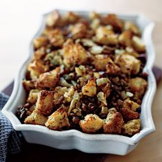 Chestnut Stuffing with Fennel | This chestnut-laced stuffing with pancetta and fennel is adapted from Sunday Suppers at Lucques. The crispy olive oil-soaked bread cubes on top are especially delectable. #FOODWINEWOMEN