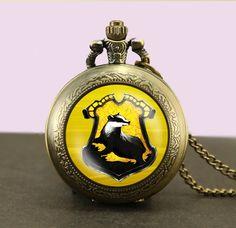 Harry Potter hufflepuff Locket necklace,Harry Potter hufflepuff Pocket Watch Necklace,hufflepuff fob watch locket necklace