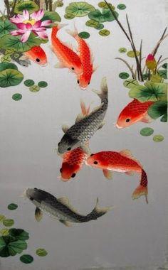 Japanese Nishikigoi Koi Replica Kohaku Display Handcrafted Painted Ceramic Resin