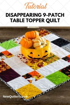 Tutorial and quilt pattern for a charming disappearing 9-patch table topper simple enough for quilting beginners. Try it! From NewQuilters.com. #quiltpatterns #quiltpatternsfree #quiltsforbeginners #quiltingtutorials #easyquiltblocks #quiltpiecing Quilting For Beginners, Quilting Tips, Quilting Tutorials, Disappearing 9 Patch, Quilted Table Toppers, Book Quilt, Quilt Patterns Free, Small Quilts, Quilt Making