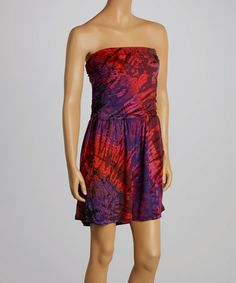 Look at this #zulilyfind! Purple & Pink Tie-Dye Strapless Dress - Women by Jayli #zulilyfinds