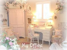 Gorgeous Shabby Chic Office (my starting inspiration for my shabby chic room, sorry link is no longer available)
