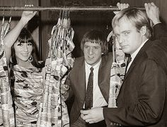 """A vintage behind the scenes shot of cult star """"David McCallum"""" with special guests Sonny and Cher for the popular TV spy series, THE MAN FROM UNCLE! Spy Shows, 60s Tv Shows, Uncle Movie, Codename U.n.c.l.e, I Got You Babe, David Mccallum, Back In My Day, Star David, The Man From Uncle"""