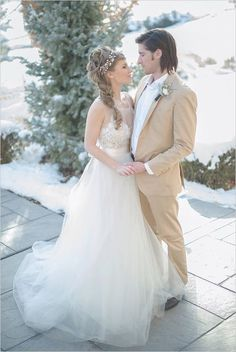 Tan groom look with romantic bride. Captured By: Shalynne Imaging Photography ---> http://www.weddingchicks.com/2014/05/09/magical-winter-wedding-ideas/