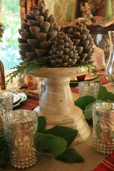 Pinecones with fresh greens simple idea for my yellow candle holder