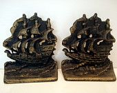 Vintage Cast Iron Nautical Book Ends Heavy Metal Maritime Sailing Sailboats Tall Ships Bronze Retro Housewares Vintage Home Decor