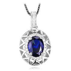 Jewelrypalace 1.56ct Blau Synthetisch Saphir Anhänger Halskette Kette 925 Sterling Silber fantastisches Geschenk